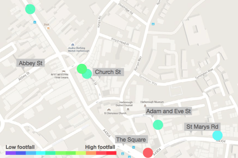 Source: Hourly counts from 10 LDC devices spread across key streets in the town, Mon 26th & Sat 31st Oct 2015.